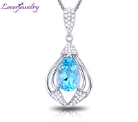 LOVERJEWELRY Fantasy Pendant Solid 18Kt White Gold Natural Gorgeous Blue Topaz Diamonds Wedding Pendant Without Necklace Chain