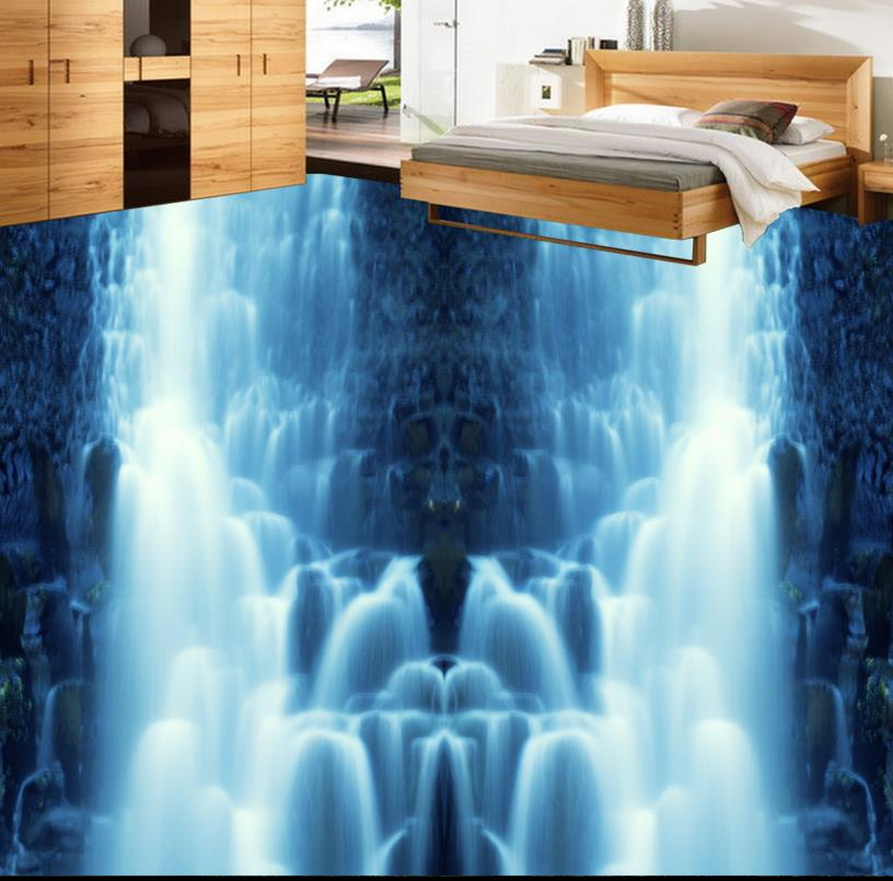 ФОТО 3D floor waterfall custom bathroom beautiful 3d floor print non-slip waterproof self adhesive plastic floor