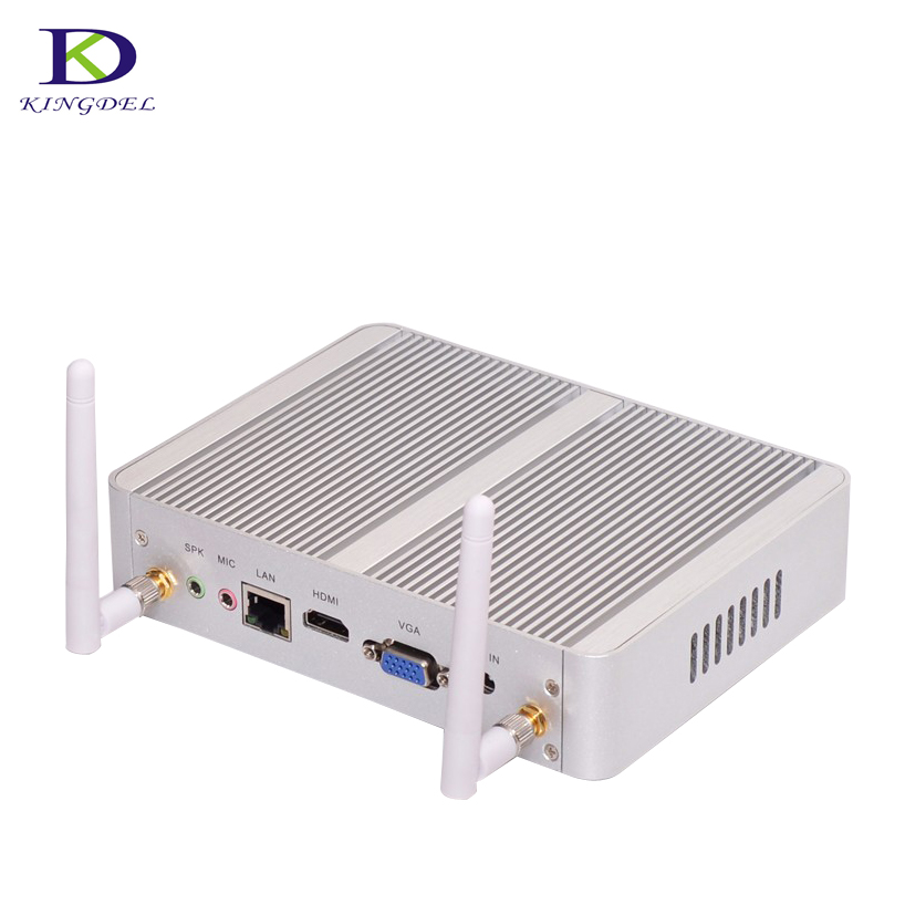 Fanless Mini PC with Intel 14nm Quad Core N3150 Core i3 4005U 6006U 7100U Dual Core Computer HTPC Support HDMI VGA 4K HD thin client mini itx computer intel celeron n3150 14nm quad core dual hdmi vga 1 rs232 4 usb3 0 300m wifi window 10 mini pc