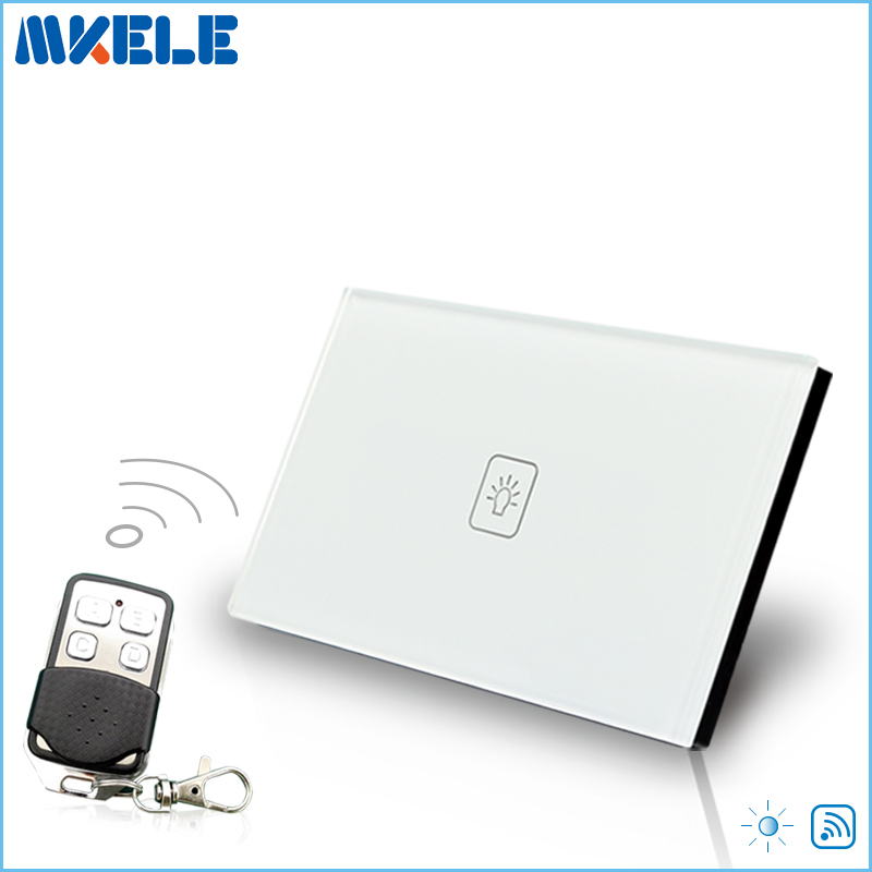 Remote Dimmer Switch US Standard Controller Dimmer Touch Sensor Switch 1 Gang 1 way White Glass Panel+LED high quality switch us standard dimmer touch sensor switche 1 gang way white glass panel led wall light electrical