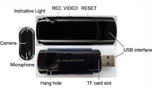 Brand New USB Disk DVR Super Voice Recorder With Camera Audio&Video Recording USB Flash Drive Black Color Pen Drive