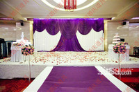 Wedding 3mx6m backdrop purple stage background with Beatiful Swag Wedding drape and curtain wedding stage backdrop decoration