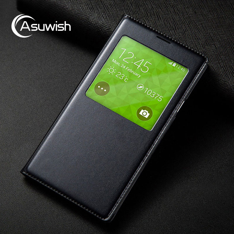 Asuwish Smart View Flip Cover Leather Case For Samsung Galaxy S5 Mini G800 G800F G800H S5 G900F G900H Phone Case Sleep With Chip