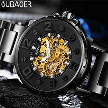 OUBAOER reloj mecánico automático para hombre, de acero inoxidable, de negocios, deportivo, militar, 2004