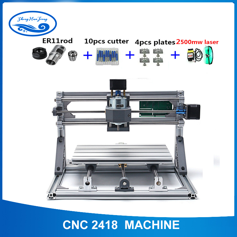 CNC 2418+2500mw laser GRBL control Diy laser engraving ER11 CNC machine,3 Axis pcb Milling machine,Wood Router+2.5w laserCNC 2418+2500mw laser GRBL control Diy laser engraving ER11 CNC machine,3 Axis pcb Milling machine,Wood Router+2.5w laser