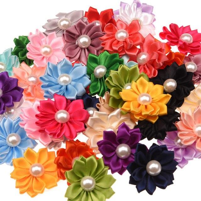 20pcs Satin Ribbon Flower With Pearl Center Diy Flowers Hair ...