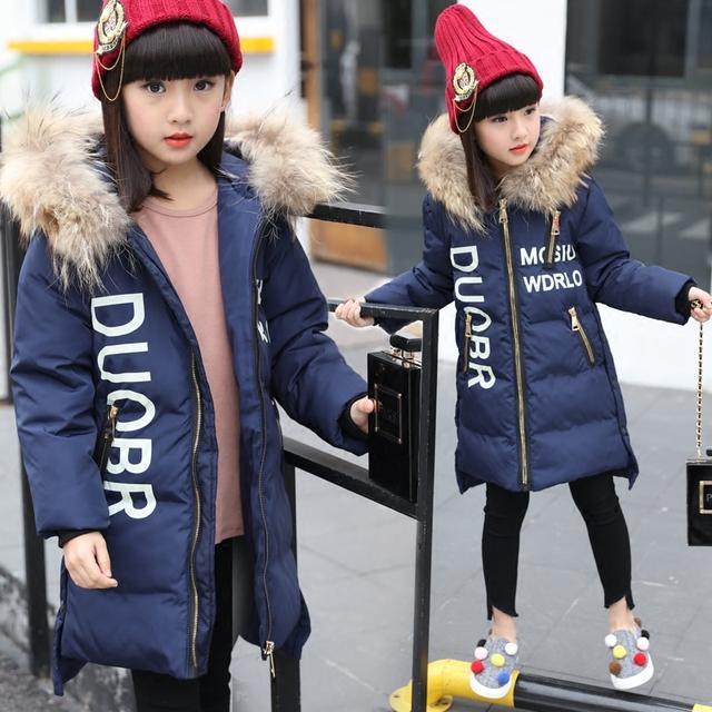 016 Longas Meninas Casacos E Jaquetas de Inverno Outwear Parkas Quente Para Baixo Crianças Jaqueta Meninas Roupas Crianças Meninas Do Bebê Roupas