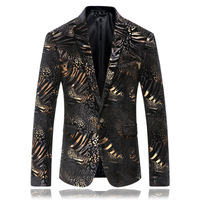 Black With Gold Foil Fashion Men Stylish Suit Blazer High Quality Casual Slim Fit Suit Jacket Americana Hombre