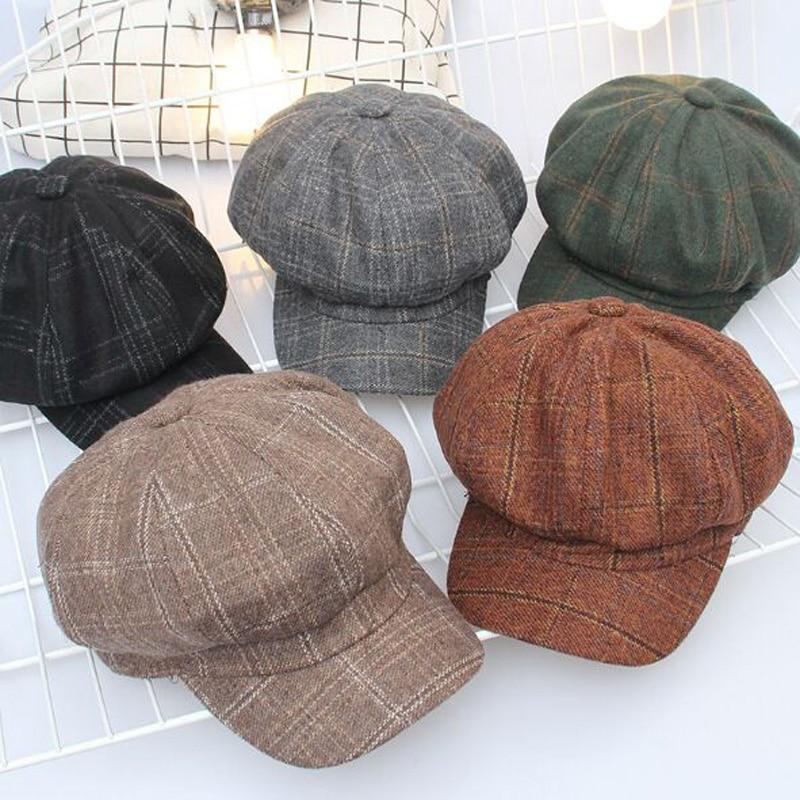 2017 Autumn Women's Plaid Newsboy Caps Vintage houndstooth Octagonal Hats For Women Berets Hat Winter Chapeu Feminino Bone