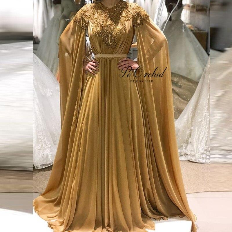 Peorchidée luxe perles robes de soirée Champagne or arabe robes de soirée femmes Robe abaya dubaï liban longue Cape Robe formelle