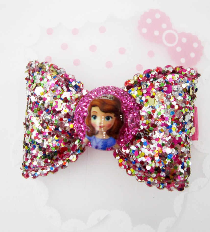 การ์ตูนดิสนีย์แช่แข็งเด็กคลิปผม Elsa princess bow hair pin อุปกรณ์เสริม shine เครื่องสำอางค์ headwear สาววันเกิดของขวัญ Anna