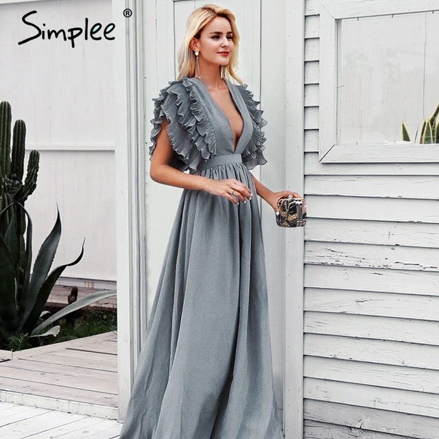 Женское длинное вечернее платье Simplee, привлекательное элегантное платье с v-образным вырезом и рюшами, женское платье макси с высокой талией для вечеринок, 6 цветов
