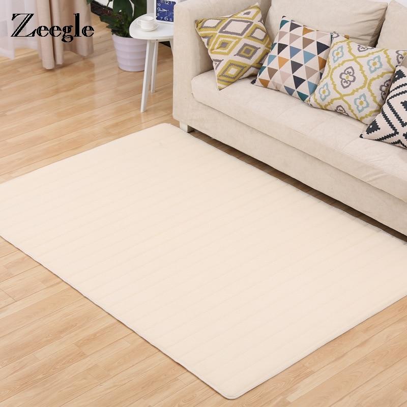 Zeegle Solid Living Room Carpet Home Decor Memory Foam Non-slip Bedside Mat For Bedroom Kids Play Carpets Absorbent Kitchen Rug