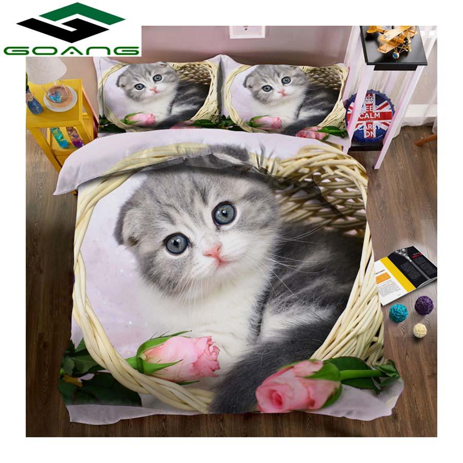 GOANG Hotel Bedding Set 3d Digital Printing Bed Sheet Duvet Cover Pillow Case 3pcs Kids Bedding Set Rose Cat Home Textiles