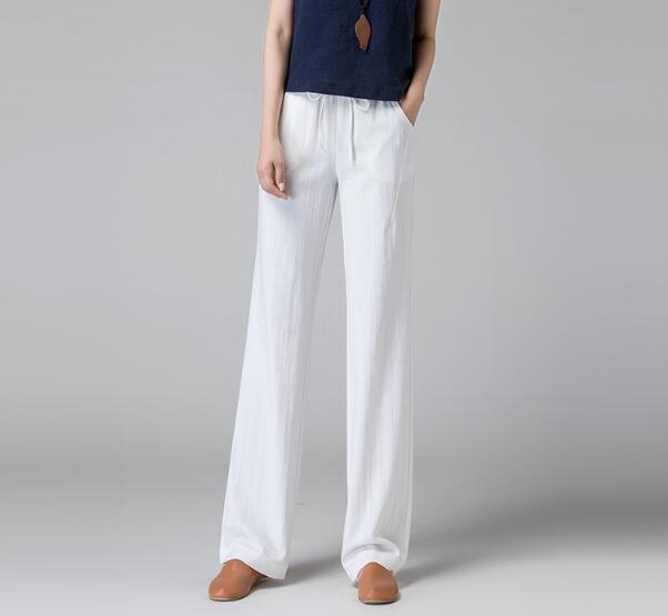 2019 new loose thin large size linen casual straight hanging high waist   wide     leg     pants