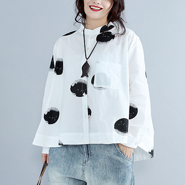 OLOEY 2018 Spring Summer Big Dot Printing Full Sleeve White O-neck Blouse Big  Size Ladies Fashion Tide Shirt tops W854 761c47aa8fda