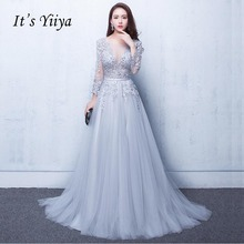 Its Yiiya New Three Quarter Illusion Backless Lace Up Flowers Elegant Evening Dress Floor Length Party Gown Gowns LX048