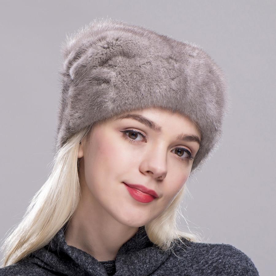 FXFURS Рождественская шапка из меха норки, высококачественные меховые шапки с одним норковым шариком, женские зимние теплые защитные ушные ша... - 6