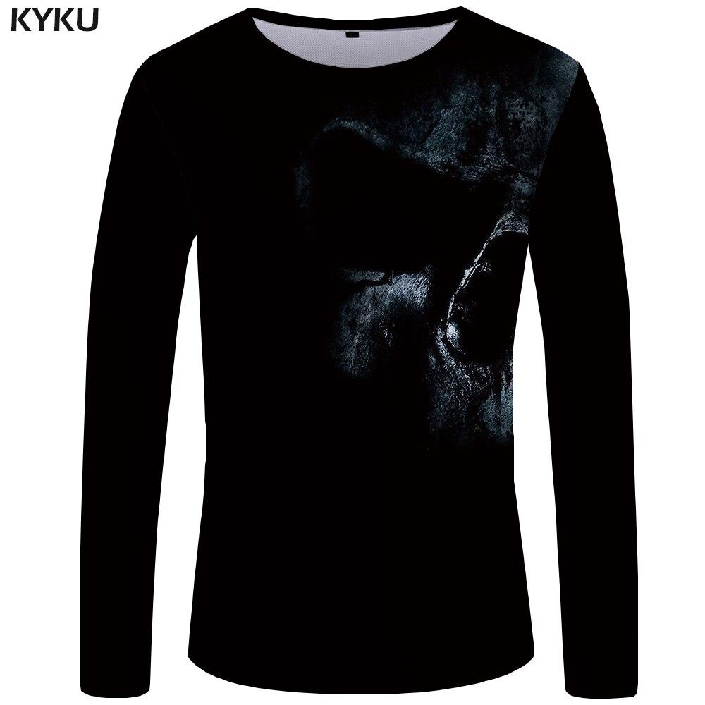 KYKU Skull T Shirt Men Long Sleeve Shirt Black Tee Devil Rock Hip Hop Graphic Cool  Streetwear Mens Clothing Fashion Big Size