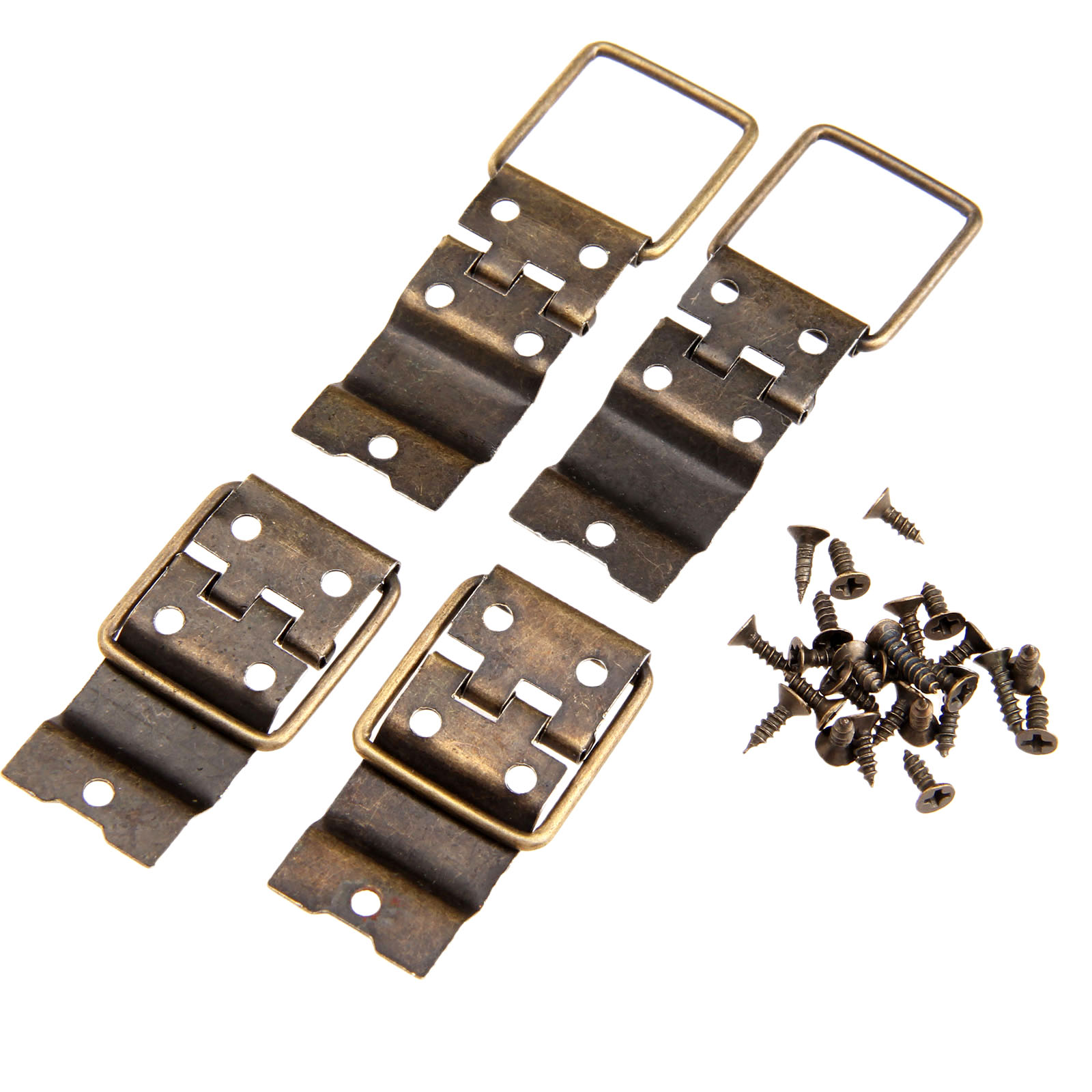 4Pcs Antique Furniture Cabinet Door Hinges Drawer Jewellery Box Hinge Printing Packaging Jewelry Box DIY Accessories 38x21mm