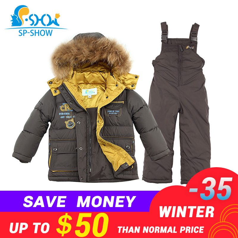 11.11 spshow -35 degrees russia Winter Luxury Brands Children Hat real nature Fur Down Jacket super thick down snowsuit плавки шорты charmante плавки шорты