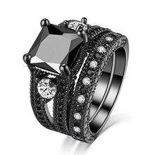 Trendy Luxury Brand Black Cubic Zirconia Wedding Bands  Rings For Women Silver Color Ring Set Wholesale Lots Bulk trendy rose gold rings for women rings cubic zirconia brand designers female stainless steel wedding bands ring