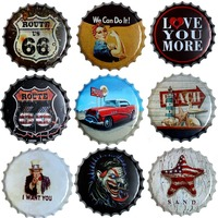 Route 66 Round Bottle Cap Tin Sign Decor Vintage Plaque Metal Tin Signs Wall Pub Bar Restaurant Home Art Decor 40CM T 74