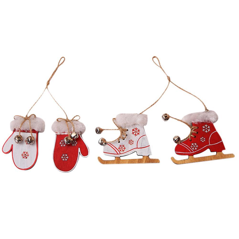Wood Color Christmas Gloves Decorative Pendant Creative Christmas Boots Pendant Ornaments Doll Home Decor in Pendant Drop Ornaments from Home Garden