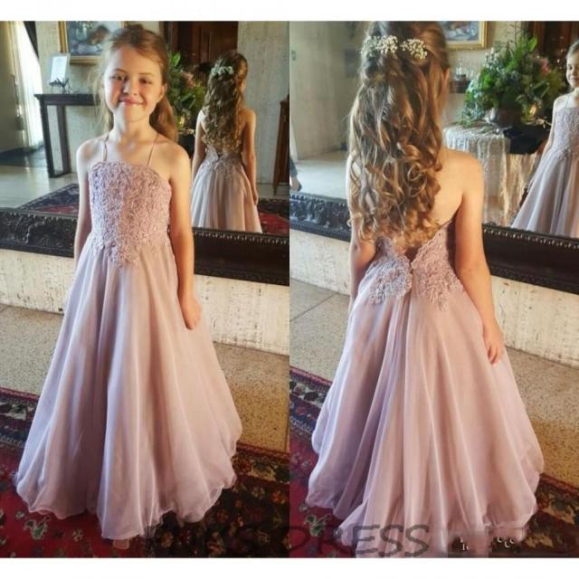Sexy Halter Backless Flower Girl Dresses For Wedding Lace Applique A Line  Girls Pageant Gowns Cheap