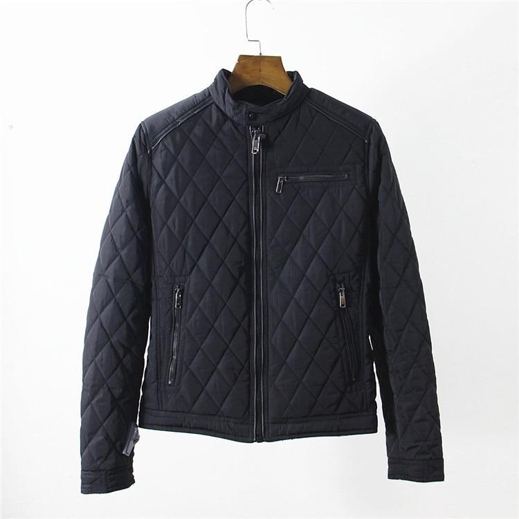 EU SIZE Stand Collar Black Japanese Harajuku Men Bomber Jackets Military Baseball Coats Diamond Quilted Nylon Jacket