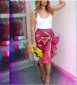 2015 Бесплатная Доставка Новая Мода Женщин 'Деловой Костюм Юбка-Карандаш Лето OL Юбки Для Женщин Сексуальная Большой лук Печати Чистого Хлопка юбка