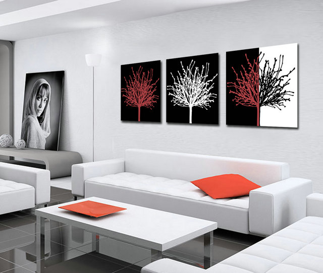 Unframed 3 sets canvas painting black white red trees art for Cheap framed prints online