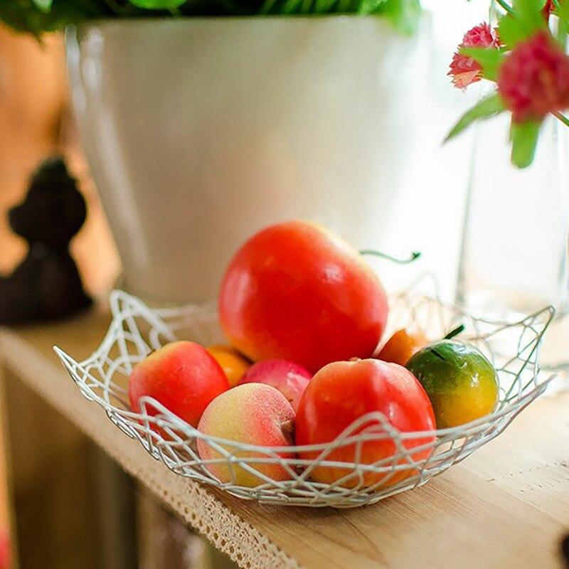 Nordic Iron Fruit Storage Basket Candy Plate Vegetable Bowl Desktop Snack Plate Kitchen Organizer Baskets Organizer Container
