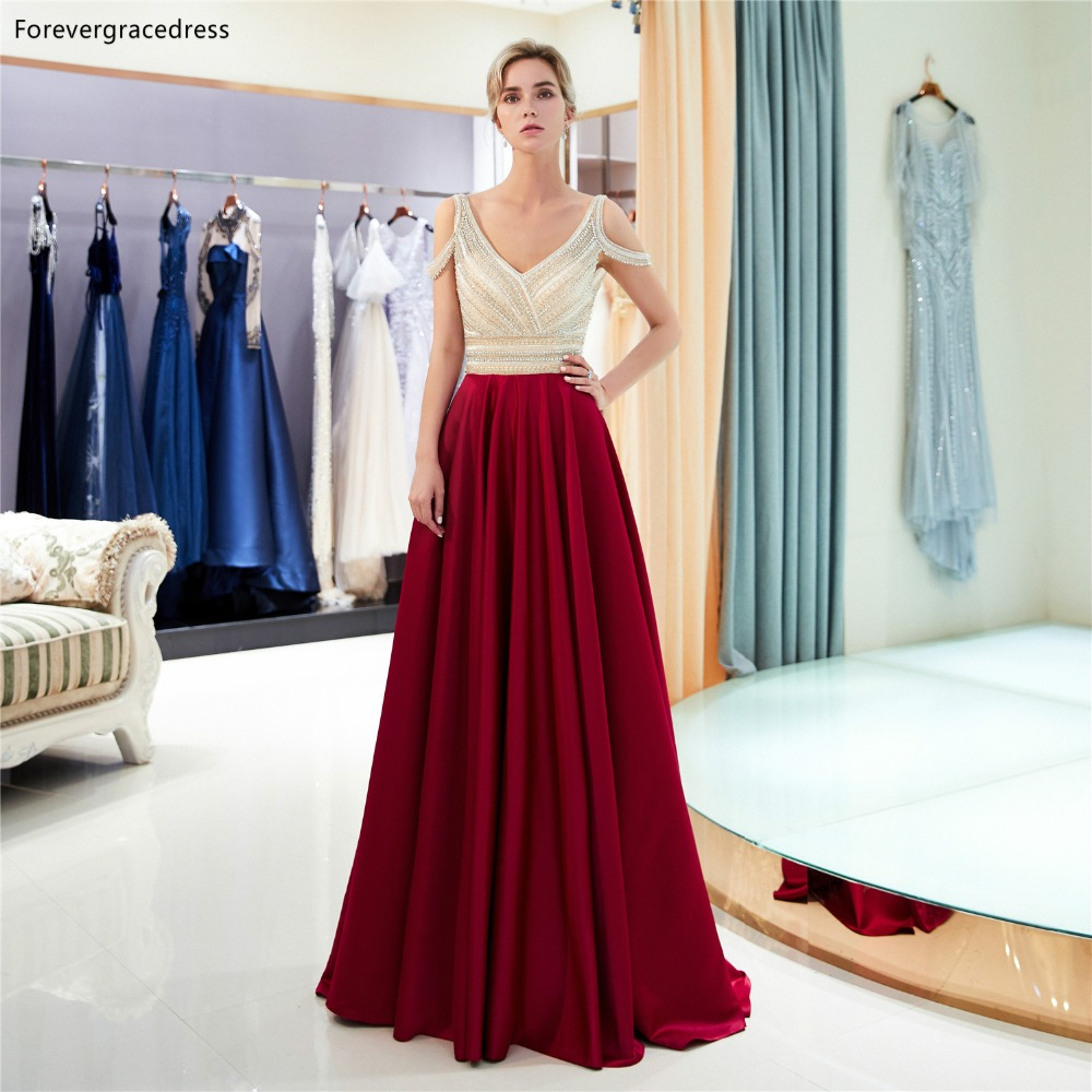 Forevergracedress Sexy Off Shoulder   Prom     Dresses   2019 Dark Red Beading Crystals Satin Formal Party Gowns Plus Size Custom Made