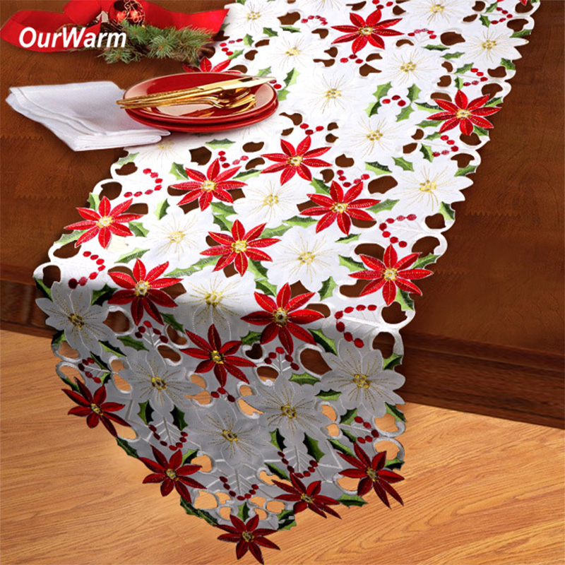 OurWarm Floral Christmas Table Runner White Table Cover Cloth For Home Christmas Wedding Party Table Decoration 38*176cm