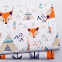 Хлопковая саржевая ткань с принтом лисы для детей, хлопковая ткань для шитья своими руками, стеганый материал для детей и малышей
