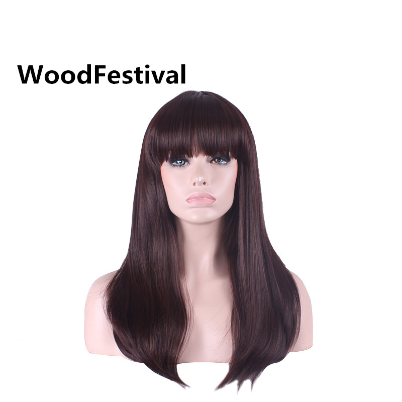real picture WoodFestival dark brown long straight wig bangs synthetic wigs heat resistant cosplay hair wigs for women