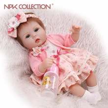 Npkcollection bebes reborn dolls de 실리콘 소녀 몸 40 cm 소녀를위한 사랑스러운 인형 장난감 boneca baby bebe doll 최고의 선물 완구