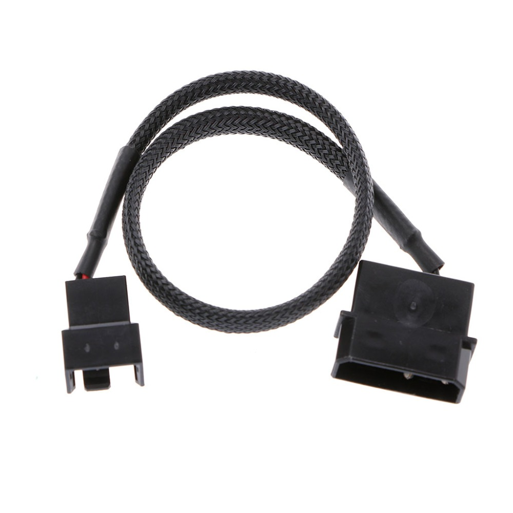 4-Pin Molex Male To 3-Pin//4-Pin PWM Male Sleeved Fan Extension Adapter Cable