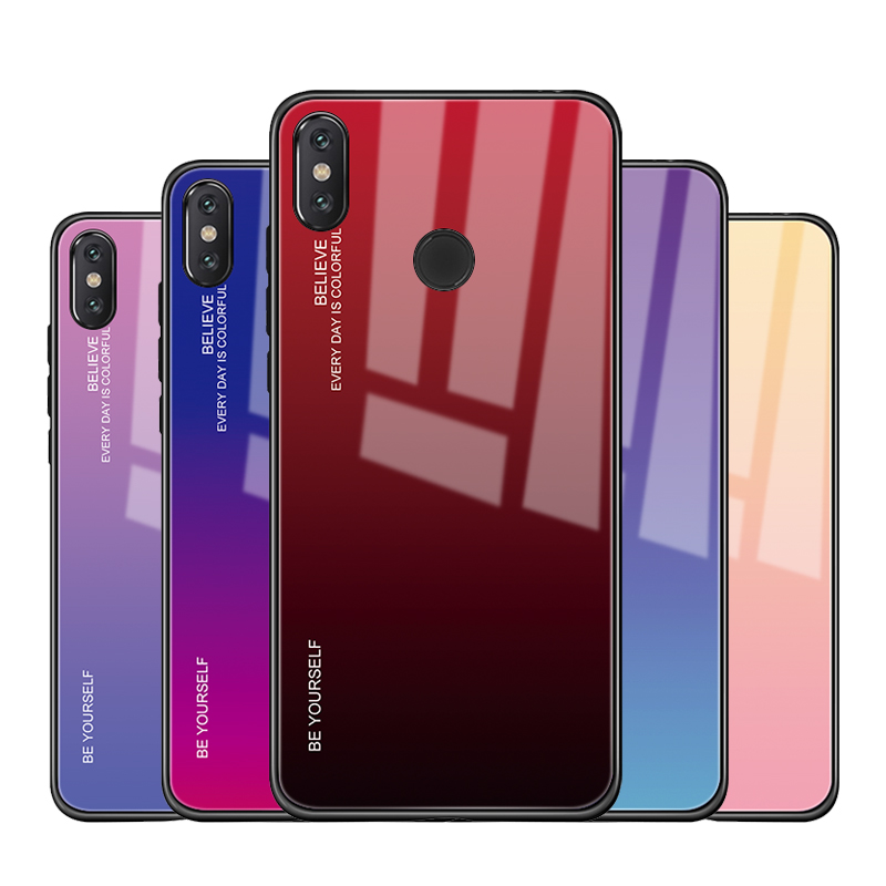 0550e953c Tempered Glass Case For Xiaomi Pocophone F1 Redmi Note 7 6Pro 5 Plus Mi8 Mi  A2 Lite 6X Mi Mix3 A1 5X Gradient Color Aurora Cover