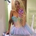 Increíble Color Crystal Vestidos de Coctel Tutu Falda de Encaje Hasta La Princesa mujeres Del Partido Del Club Del Vestido Mini Vestido De Novia 2016 nueva