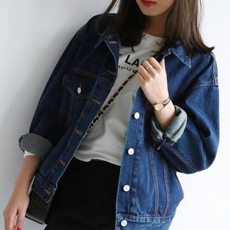 Autumn Spring Female Short Jeans   Jackets   Clothes Loose Women Denim   Basic     Jackets   Outwear Women Casual Ladies Coats Blue MJT525