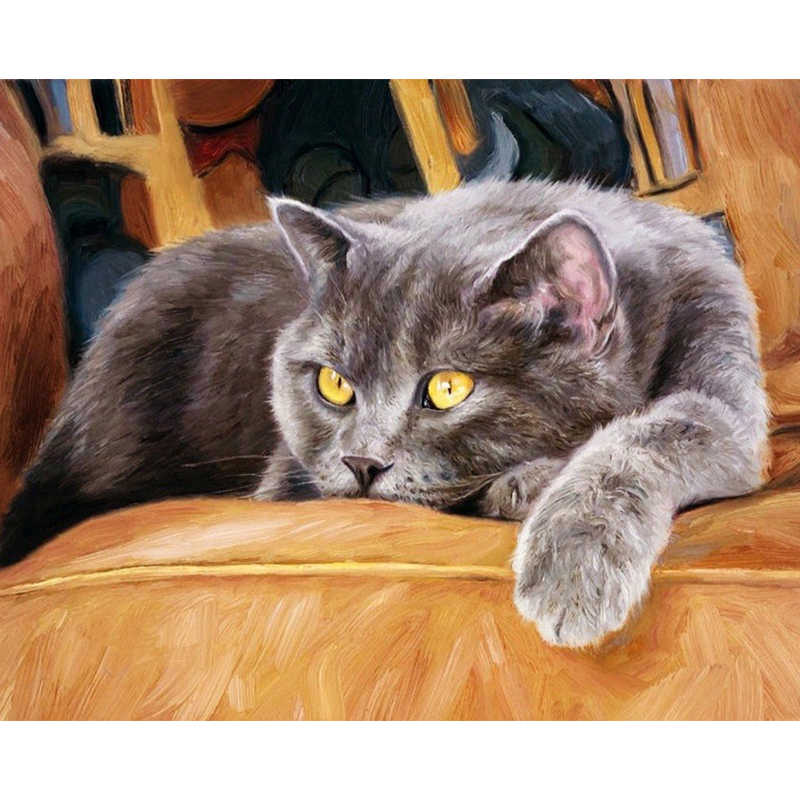 Cat sofa Afternoon Animal DIY Digital Painting By Numbers Modern Wall Art Canvas Painting Birthday Unique Gift Home Decor 40x50