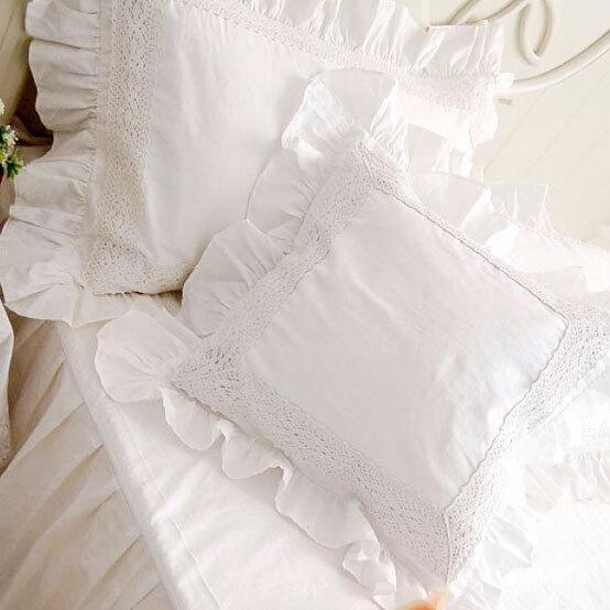 taie oreiller dentelle Luxe blanc bordure en dentelle à volants place coussin case fille  taie oreiller dentelle