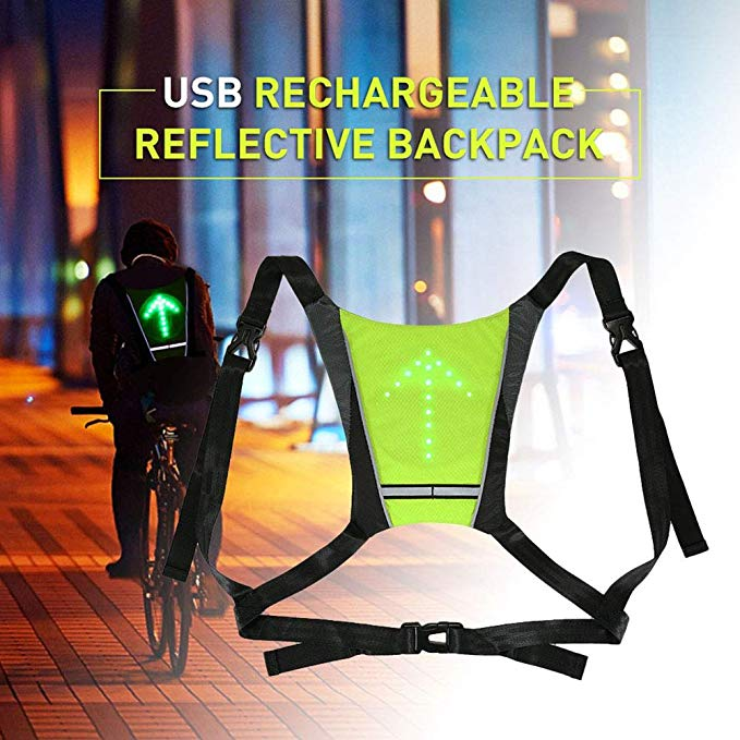 Cycling Led Light Warning Vest Usb Charging Backpack Mtb Bike Bag Safety Led Signal Vests Warning Accessories 1pc Back To Search Resultssports & Entertainment