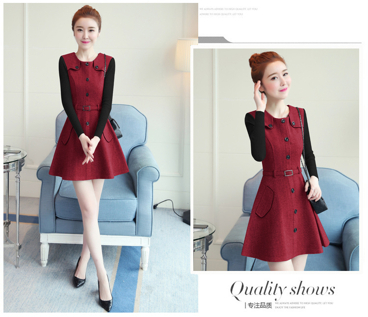 winter new round collar single-breasted cloth dress belt buttons A word women dresses Korean fashion outfit lady vogue vestido 14