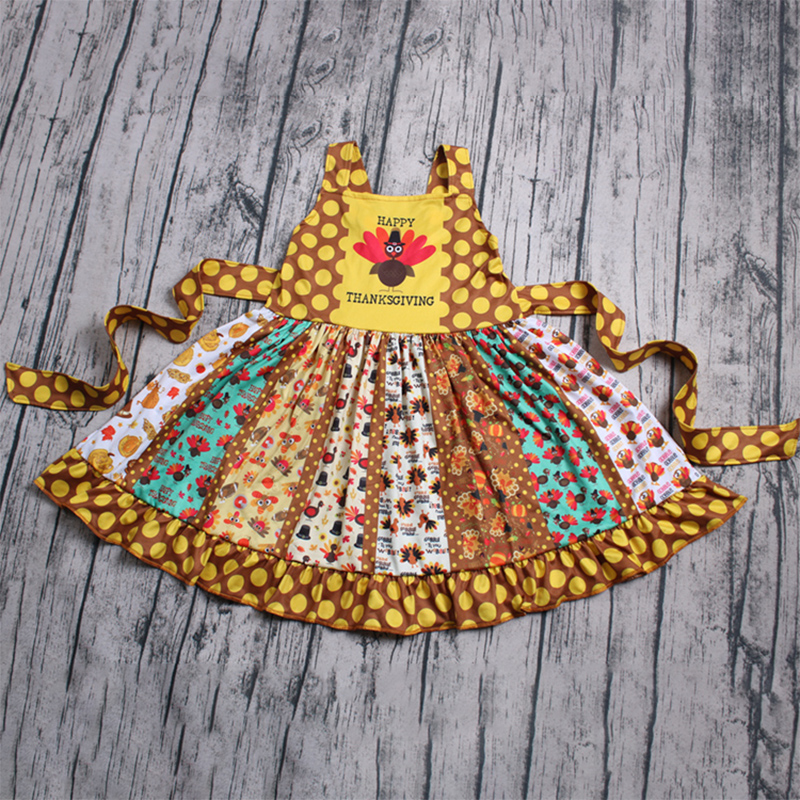 Dropshipping Popular Girl Dress Thanksgiving Turkey Princess Baby Clothes Costume Kid's Party Dresses For Girls vestido infantil