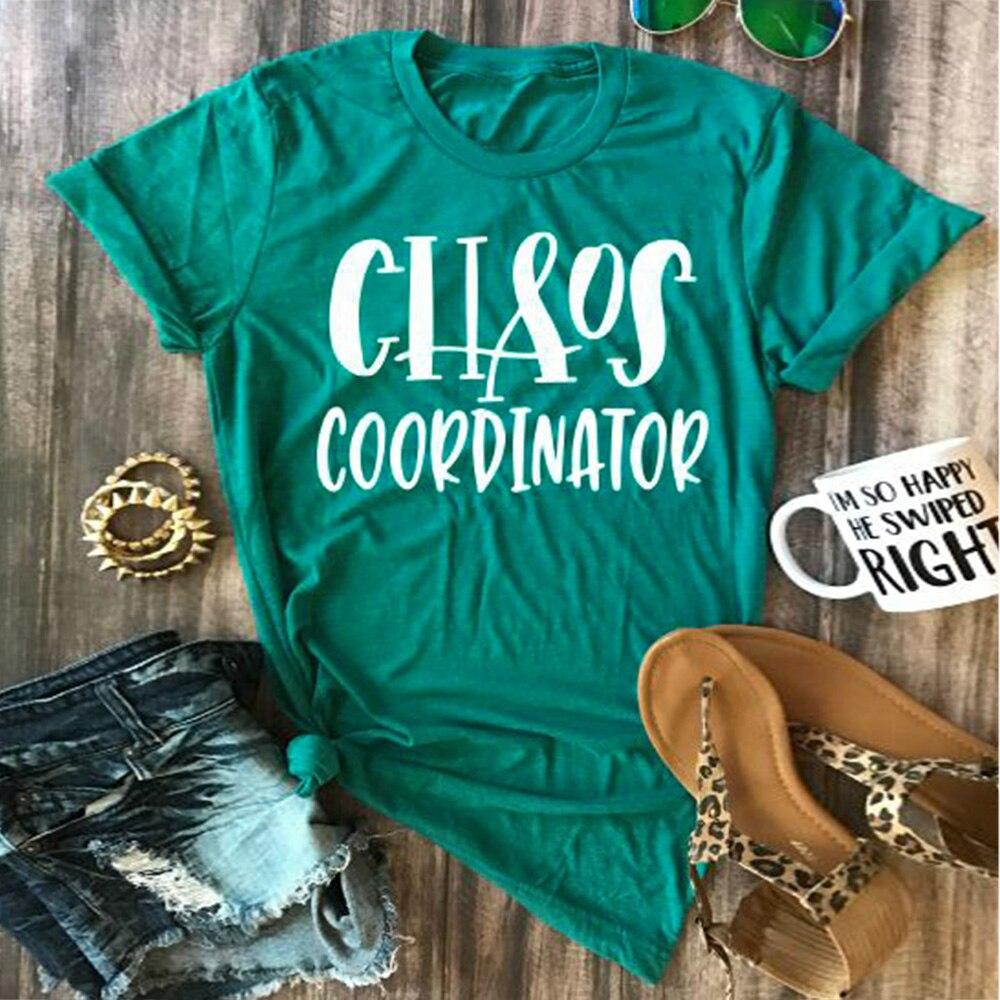 chaos coordinator letter print women t shirt short sleeve