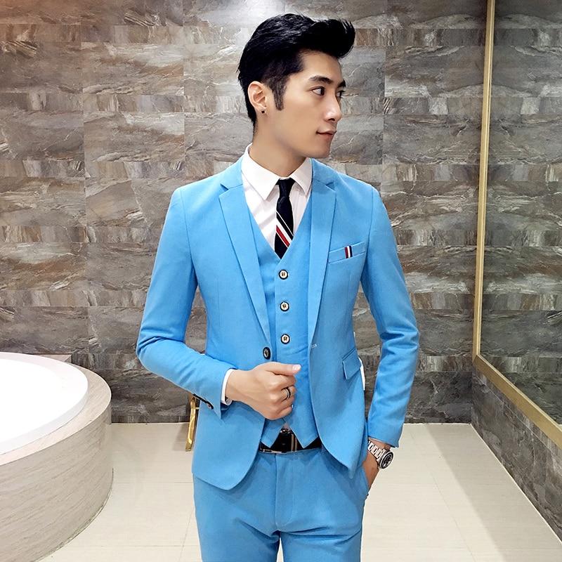 Jacket + Vest + Pants + Tie ) Men Groom Fashion Boutique Pure Color ...