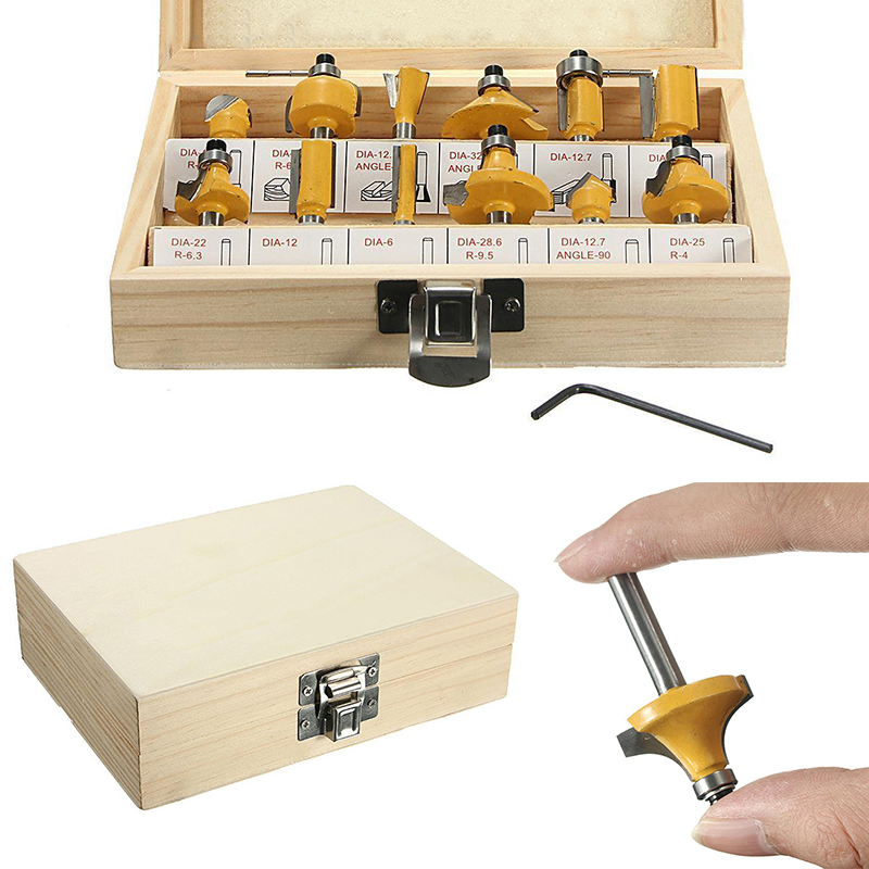 12pcs Mayitr Carbide Router Bit Set 1/4'' Shank Woodworking Cutter with Wooden Box For Capenter Tools [15 pcs router bit set] woodworking milling cutters for wood router woodworking machine free shipping yg8 carbide wooden box